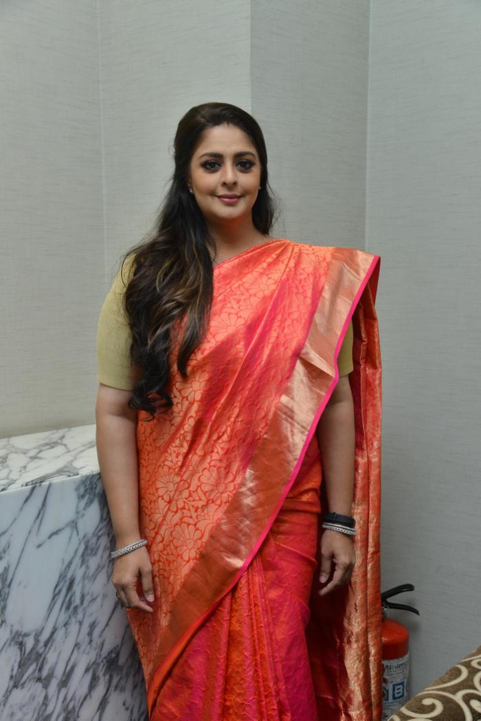 Actress Nagma In Red Saree At TSR National Film Awards ...