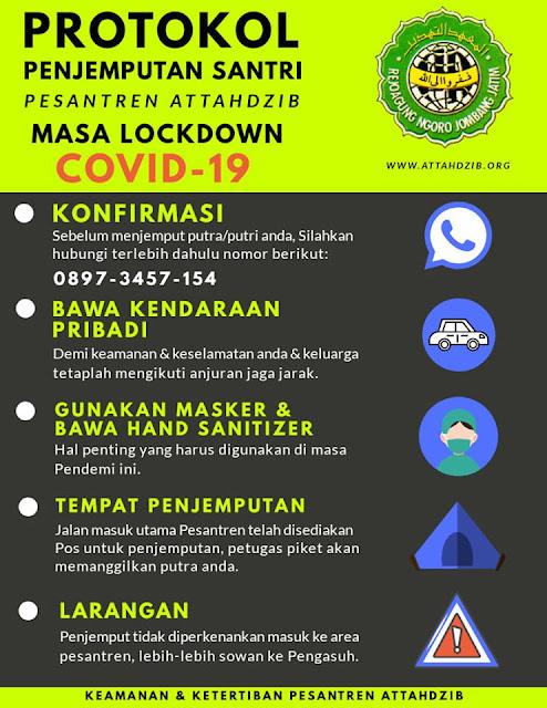 Protokol Penjemputan Santri Pesantren Attahdzib (PA) Masa Lockdown COVID-19