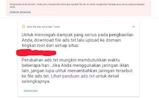 Cara Mudah Menghilangkan notifikasi Ads.txt di Google adsense