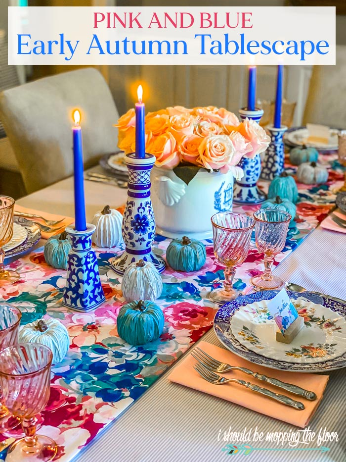Pink and Blue Autumn Tablescape Design