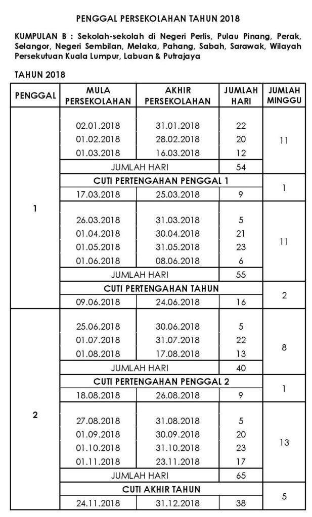 Kalendar Takwim Penggal Persekolahan 2018 KPM - MY PANDUAN