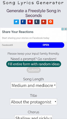 Song-lyrics-generator Song Lyrics generator tool