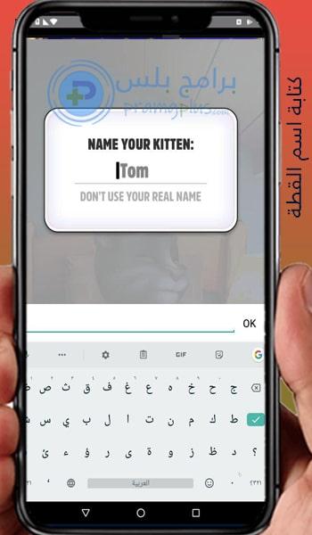 كتابة اسم القطة برنامج القط المتكلم