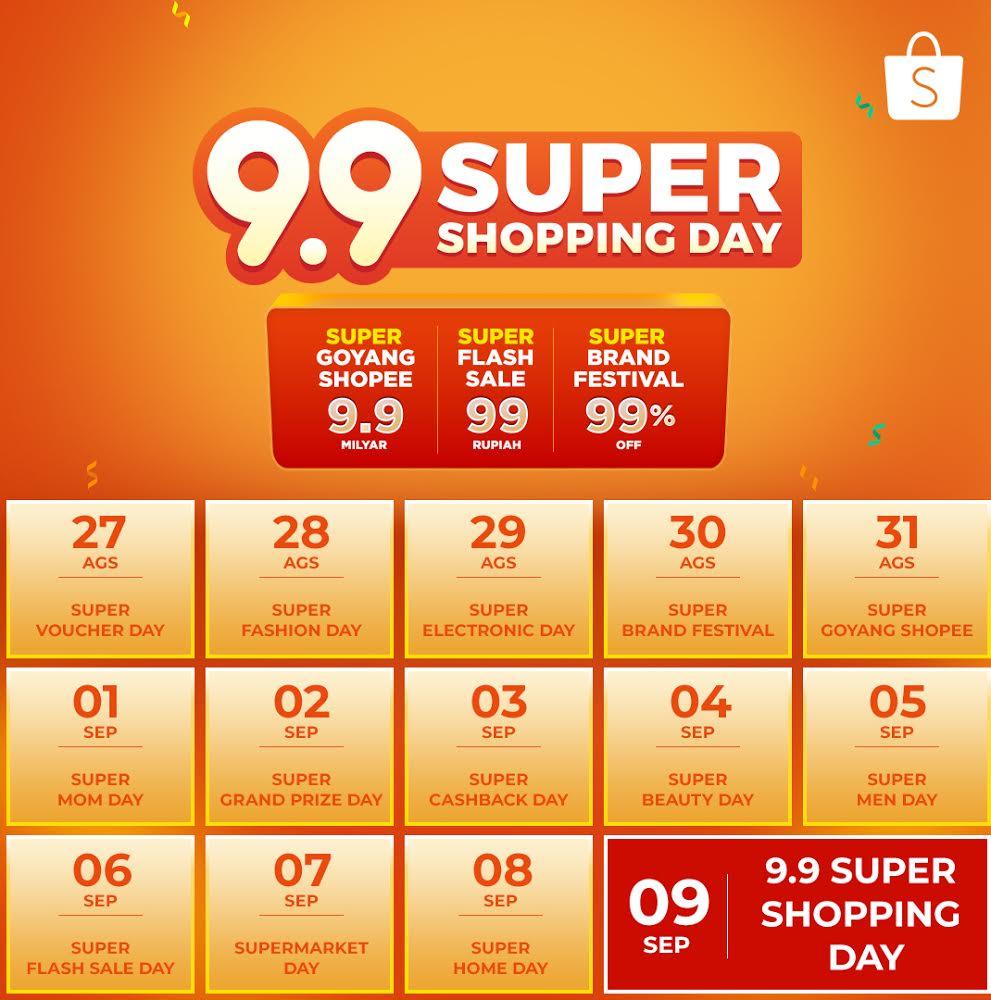 Shopee - 9.9 Super Shopping Day, Pesta Belanja Online dengan Promo Super Fantastis pada Bulan September