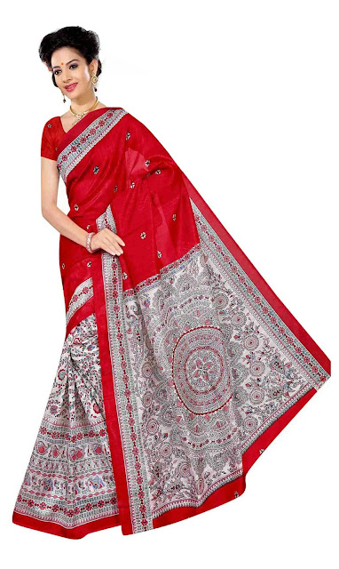 Cotton Silk Printed Saree With Matching Blouse