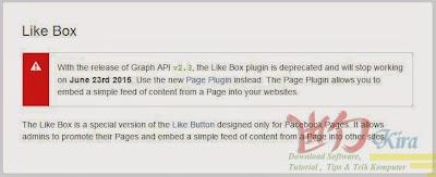 Wd-Kira, Cara Memasang Page Plugin Facebook versi terbaru sebagai media promosi Blog, Page Plugin terbaru dari Facebook, Pengganti Like Box, cara memasang like Box terbaru 2015