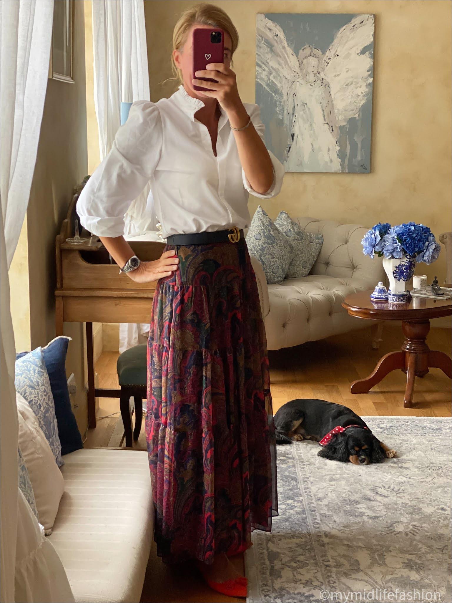 my midlife fashion, Baukjen Sadie Organic Shirt, Gucci double logo leather belt, Ralph Lauren tiered paisley skirt, j crew suede tassel ballet flats
