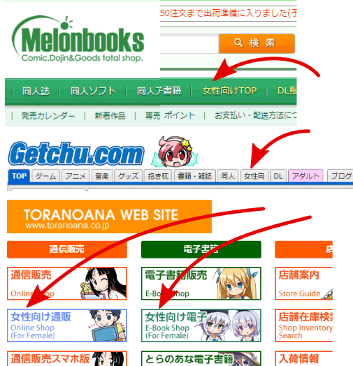 Josei-muke 女性向け categories for women in websites Melonbooks, Getchu.com and Toranoana