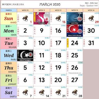 KALENDAR KUDA DAN CUTI PERSEKOLAHAN MAC TAHUN 2020