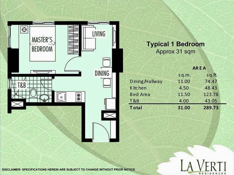 La Verti Residences 1-Bedroom 31.00 sqm