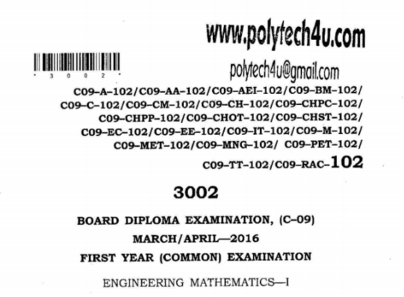 SBTET AP C 09 COMMON ENGINEERING MATHEMATICS 1 PREVIOUS QUESTION PAPER