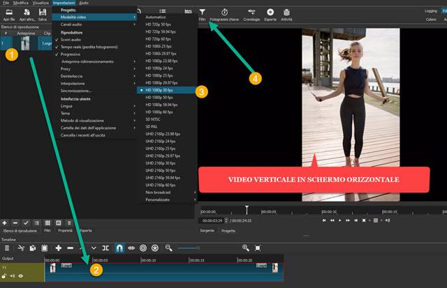 importazione dei video in shotcut e nella timeline
