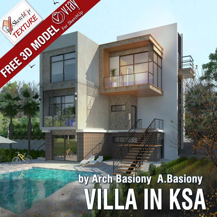 Free sketchup model modern villa in ksa vray sketchup tut for Model villa moderne