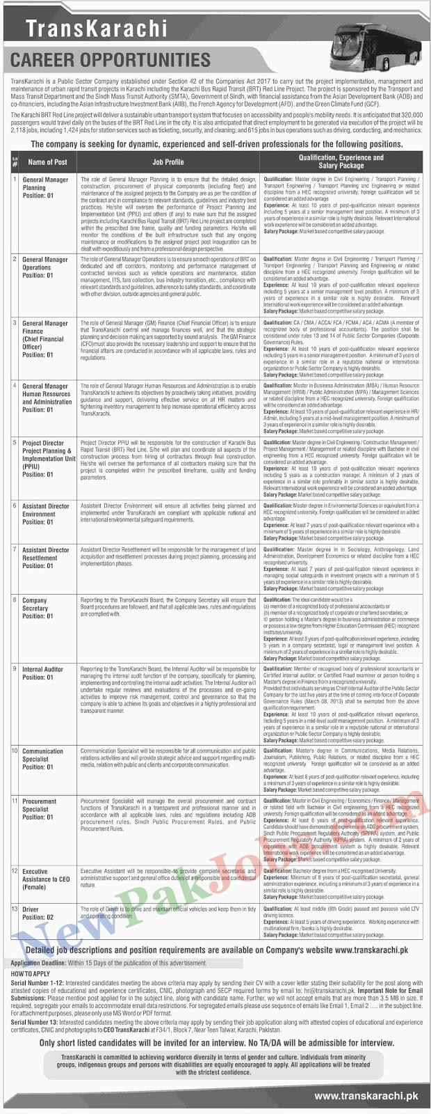 Trans Karachi Latest Jobs 14 April 2019