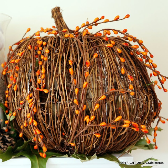 Craftiments:  Twig pumpkin