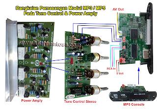Cara Memasang Modul MP3 dan MP5 Pada Tone Control Dan Power Amply