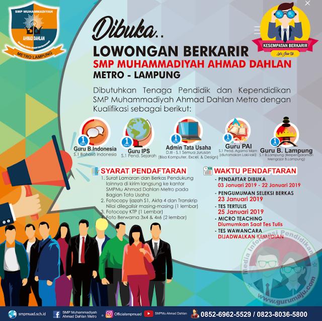 Lowongan Kerja Guru dan Staff SMP Muhammadiyah Ahmad Dahlan Metro Tahun 2019
