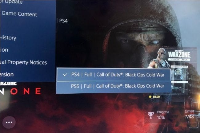 تعرض القائمة الفرعية ps5 إصدار اللعبة المحدد حاليًا