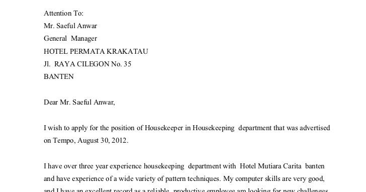 contoh surat lamaran kerja housekeeping