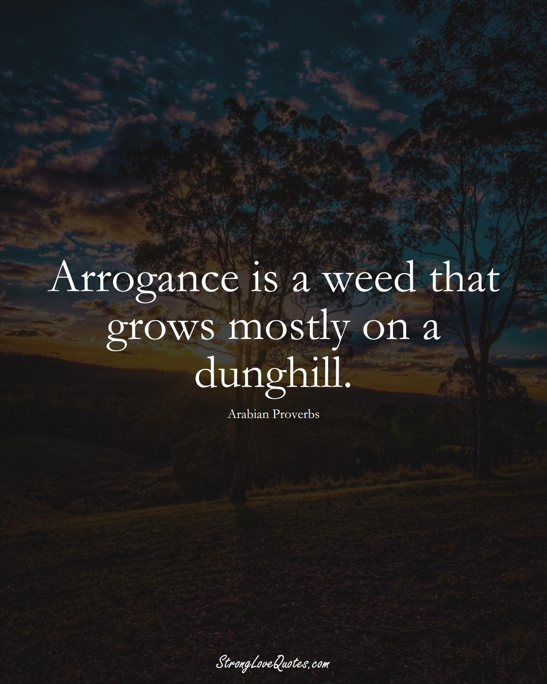 Arrogance is a weed that grows mostly on a dunghill. (Arabian Sayings);  #aVarietyofCulturesSayings