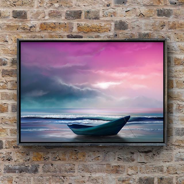 glowing sky, boat, ocean, shore, painting, tide, waves,
