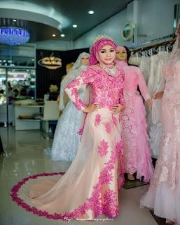 gaun pengantin muslimah brokat