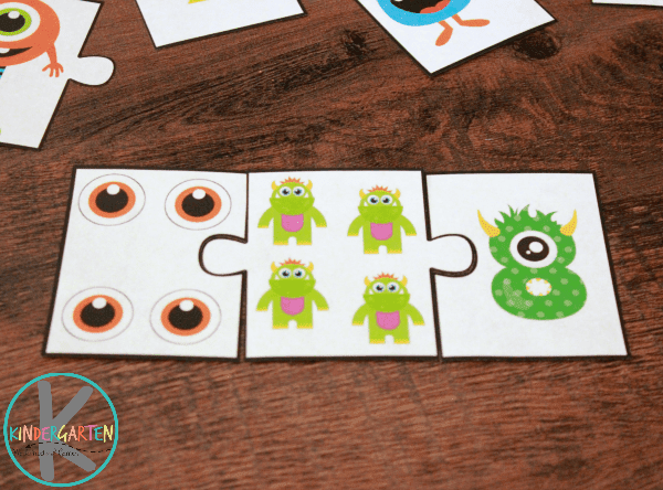 Monster Addition Puzzles for Kindergartners