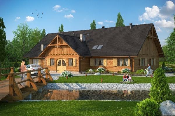 Dom drewniany w starym stylu KBprojekt