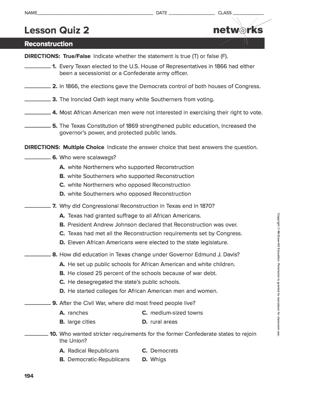 EHMS Texas History April 2016 – Reconstruction Worksheets