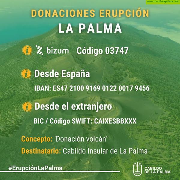 El Cabildo de La Palma habilita varias vías para centralizar las donaciones económicas a los afectados por el volcán