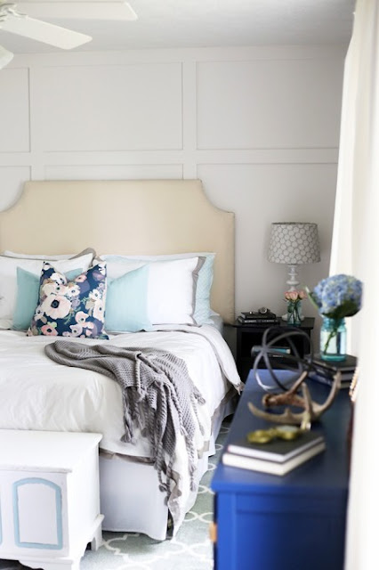 white and navy bedroom