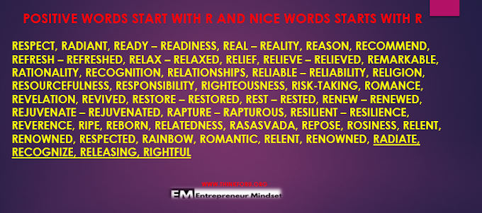 nice words that start with r,positive words start with r