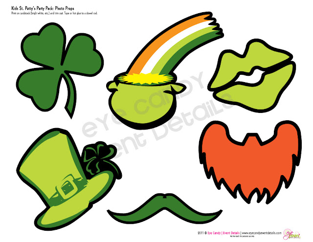 st patty's day photo props, st patty's day party photo props