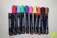Stifte oben: Kreidemarker – 10er Pack neonfarbene Markerstifte. Für Whiteboard, Kreidetafel, Fenster, Tafel, Bistros – 6mm Kugelspitze mit 8 Gramm Tinte