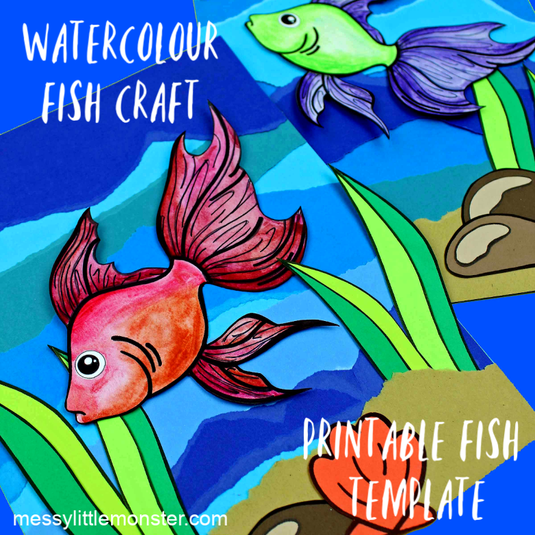 watercolour fish craft and printable fish template.