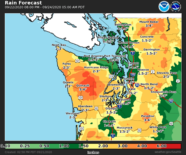 Total Rainfall for 9-23 graphic forecast showing 1 to 1.5 inches for Shoreline