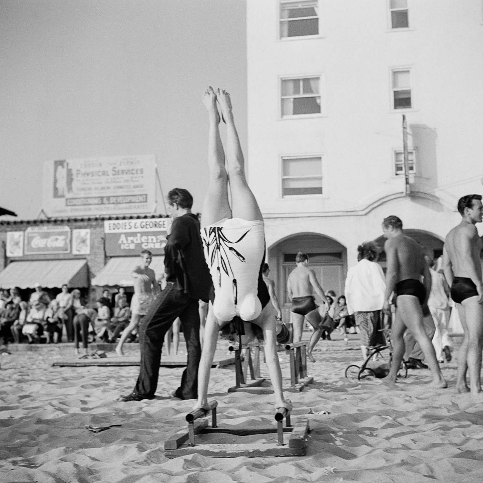 Exercising at the Muscle Beach.
