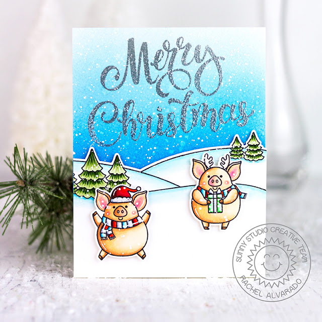Sunny Studio Stamps: Season's Greetings Scenic Route Hogs & Kisses Christmas Card by Rachel Alvarado