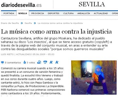 Moakara en el Diario de Sevilla