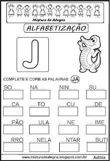 Atividades de alfabetização letra J
