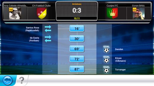 Top Eleven permite realizar substituições durante as partidas