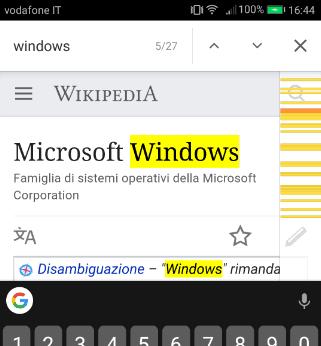 Android Chrome ricerca Trova nella pagina