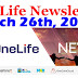 OneLife Newsletter, March 26th, 2020
