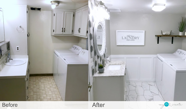 before and after of bathroom/laundry room