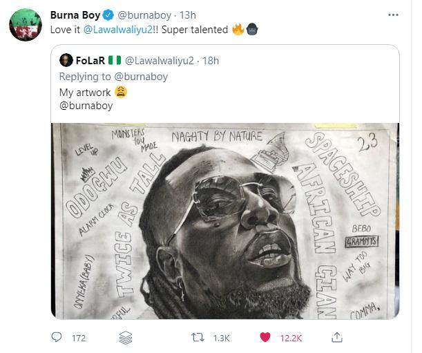 'Super talented' - Burna Boy Appreciates Fan For Drawing Portrait Of Him