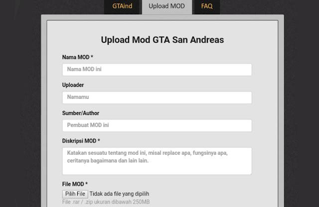 Cara Mengupload Mod GTA San Andreas di GTAInd Cara Mengupload Mod GTA San Andreas di GTAInd