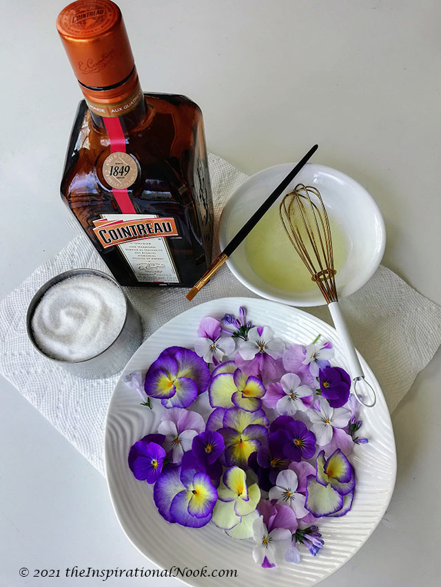 Cointreau, egg white, sugar, pansies, flowers, violas, how to make candied edible flowers
