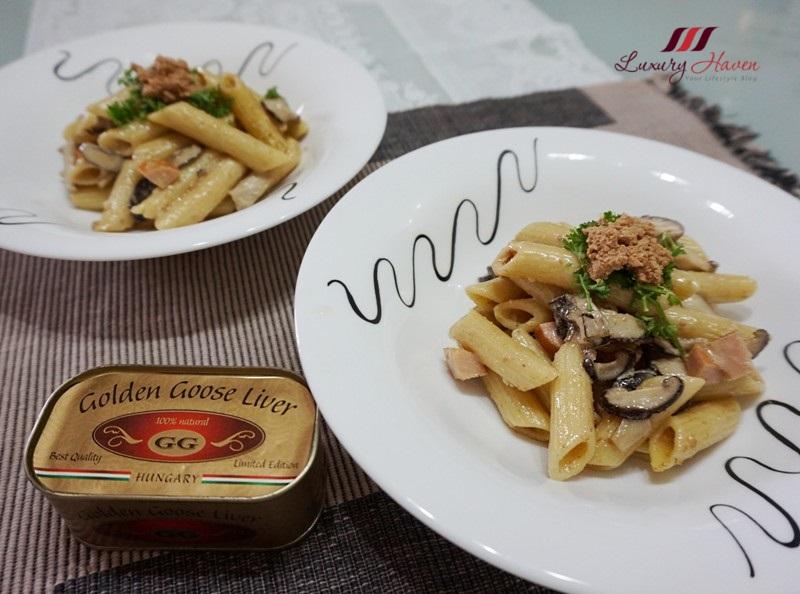 golden goose liver foie gras penne emborg cream