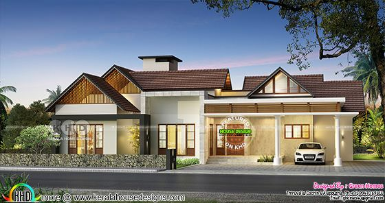 Big single floor house in sloped roof style