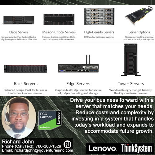 Lenovo ThinkSystem Servers Available [RJOVenturesInc.com]